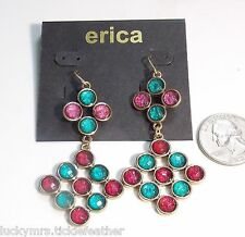 Turquoise Blue/Pink/Red Chandelier Dangle New Erica French Hook Pierced Earrings
