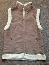 Women's Faux Suede/Sheepskin Brown Gilet. Size 10-12. Brand New
