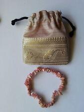 089 genuine Rhodocrosite gemstone chip bead bracelet NEW