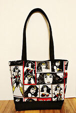Wonder Woman Tote Shoulder Purse Black And Red Handmade