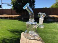 """6"""" inch Hookah Water Pipe Bong Bent Neck Smoking Hanging Perc 14mm Glass Bowl"""