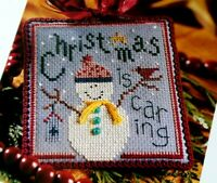 Cross Stitch Pattern Lizzie Kate CHRISTMAS Is CARING Snowman Red Cardinal Star