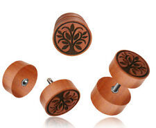 PAIR ROSE WOOD FAKE INLAY TREE OF LIFE CHEATER PLUGS 18g PLUG 2G HEADS