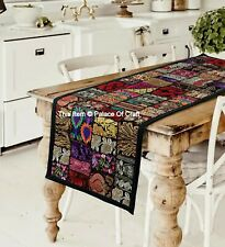 Indian Table Runner Patchwork Black Handmade Embroidery Tapestry Wall Hanging