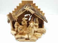 """Full Nativity Set with 9"""" Stable and 5"""" Faceless Figurines Bethlehem Olive Wood"""