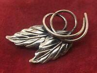 Vintage Sterling Silver Brooch Pin 925 Flower Leaf