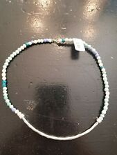 Thirty One Bits Sani Blue Mix Necklace Handmade beaded bohemian hippie $48 new.