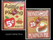 "Hanging Wood Plaques Choice of Apples or Pumpkin Pie 9"" x 7"""