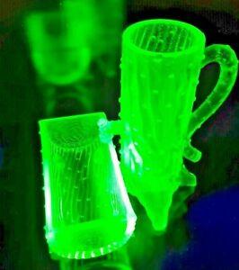 Vintage Vaseline/Uranium Glass Pump and Trough Set - L@@K!
