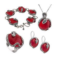 Señoras plata 925 Collar Pulsera Pendiente Conjunto 4Pcs Rojo Cristal Piedra RRP100