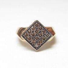 Estate 10K Yellow, White Gold Cognac, White Brilliant Cut Diamond Ring 0.75 Cts