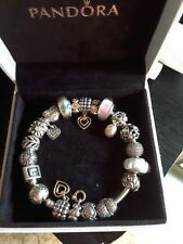 Pandora authentic bangle with charms, stering silver & gold. Excellent condition