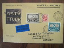 1931 ANVERS LONDRES 1st flight Air Mail cover enveloppe SABENA Par Avion Belgium