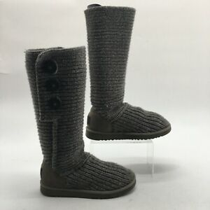 UGG Womens 7 Classic Cardy Sweater Knit Tall Boots Grey Pull On Wool Insole 5819