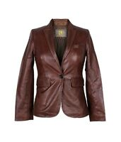Ladies Womens Girls Genuine Real Summer NAPPA Leather Vintage Blazer Jacket Coat