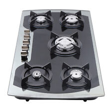 """35.4"""" 5 Burners Built-In Black Stainless Steel CookTop Gas Stove Ng/Lpg + Nozzle"""