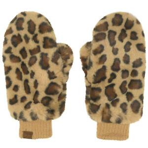 CC Soft Faux Fur Fuzzy Lined Flip Up Down Top Fingerless Mitten Gloves Latte