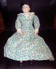 "VINTAGE Era Old 18"" China Head Doil Head And Shoulder Doll Stuffed Body & Dress"