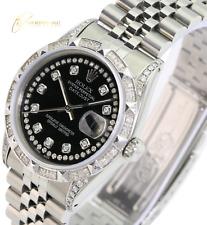 "Rolex Men""s Datejust Steel Black Diamond Dial Diamond  Lugs & Bezel 36mm Watch"