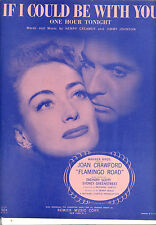 """FLAMINGO ROAD Sheet Music """"If I Could Be With You"""" Joan Crawford Zachary Scott"""