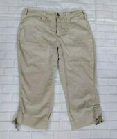 NYDJ Capri Chino Pants Khaki Size 6 Petite Womens Cropped Adjustable Leg