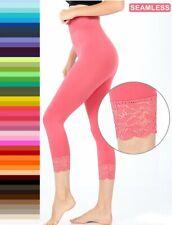Leggings Yoga Pants Lace Trim 3/4 Capri Length Nylon/Spandex S-XL Plus 1X-3X