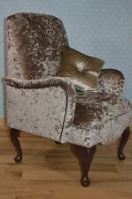 Small Childrens Queen Anne  Bedroom Chair Mink/ Cream Crushed Velvet