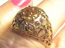 natural Silver RING 7 citrine amethyst FILIGREE old REAL STERLING  SMALL DELICAT
