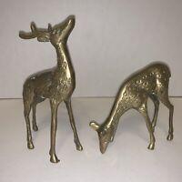 """Solid Brass Standing Buck & Doe Deer Figurines 6.5"""" 3.5"""