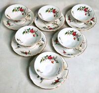 Vintage WAWEL Poland Sheraton Rose Gold Trim Tea Cups & Saucers - Lot of 6