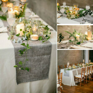 1pc Jute Table Runner Burlap Lace Wedding Party Banquet Decoration Dining Table