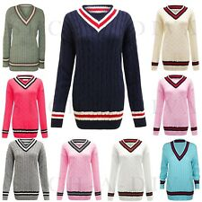 WOMENS LADIES CABLE KNITTED V NECK CABLE CRICKET JUMPER PLUS SIZE UK 8 - 24/26