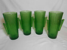 """Libbey Glass 4 Green Cactus 7"""" Tall 16 oz Cooler, Tumblers . NEW OLD STOCK."""