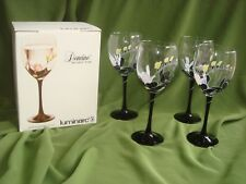 VINTAGE DURAND LUMINARC BLACK STEM DOMINO ANAIS LARGE WINE GLASSES 12oz.