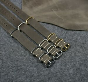 Natural leather watch strap grey, Military Army band, Handmade strap 18-24mm