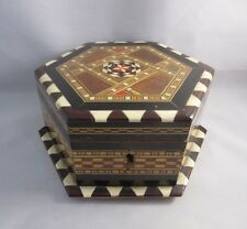 Beautiful vtg wood inlay mosaic jewelry box.Hexagon shape.Geometric pattern