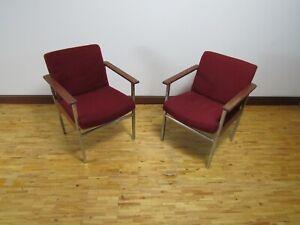 Pair Mid Century teak and chrome armchairs 1970
