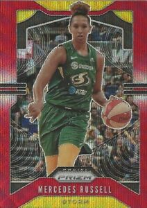 2020 WNBA PANINI PRIZM * MERCEDES RUSSELL * RUBY WAVE PARALLEL CARD #75 STORM
