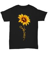 Jesus Christ Cross Sunflower T-Shirt Gift For Christian Women Tee Faith In God