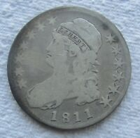 1811 Capped Bust Half Dollar Nice Circulated Coin Light Cleaning Rare Date