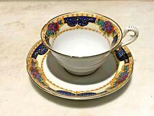 Antique Porcelain Tea Cup & Saucer Flowers Cobalt Blue, Gold, Crown A & CO