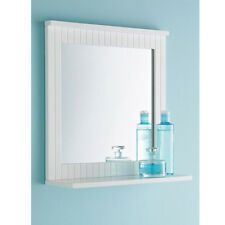 White Wall Mirror - Lines Design With Shelf - Bathroom Mirror - G-0021