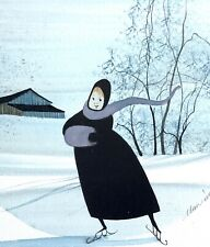 "P. Buckley Moss original watercolor ""Violet Scarf"" ~ 1988 ~ ice skating ~ winter"
