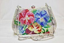 Floral Crystallized Evening Bag Red Blue Colors Clutch Purse w/Swarovski Crystal