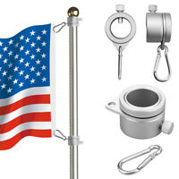 2X Alloy Metal Flag Pole Flagpole Rotating Rings Clip Anti Wrap Grommet Mounting