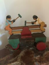 Wooden, Train Handcar, Pull Toy, Vintage, Two men Hammer  and the Cart Rolls....
