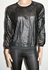 Milka & Gala Brand Black Faux Leather Pull Over Sweater Top Size 10 BNWT #SX10