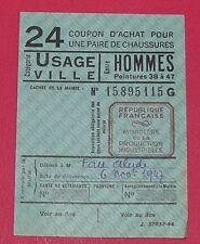 RARE CARTE 24 COUPON ACHAT CHAUSSURE VILLE HOMME P. 39-47 1947 IVe REPUBLIQUE
