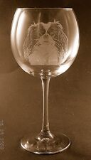 New Etched Japanese Chin on Large Elegant Wine Glasses- Set of 2