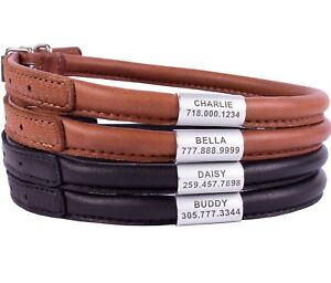Rolled Dog Collar Personalized Soft Padded Round Leather Collars Black Brown